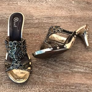 Black & Gold Jeweled Shoes